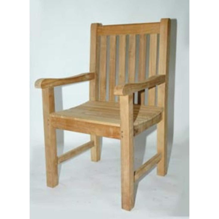 32 NaturalTeak Outdoor Patio Block Island Garden Chair, Brown, Patio Furniture