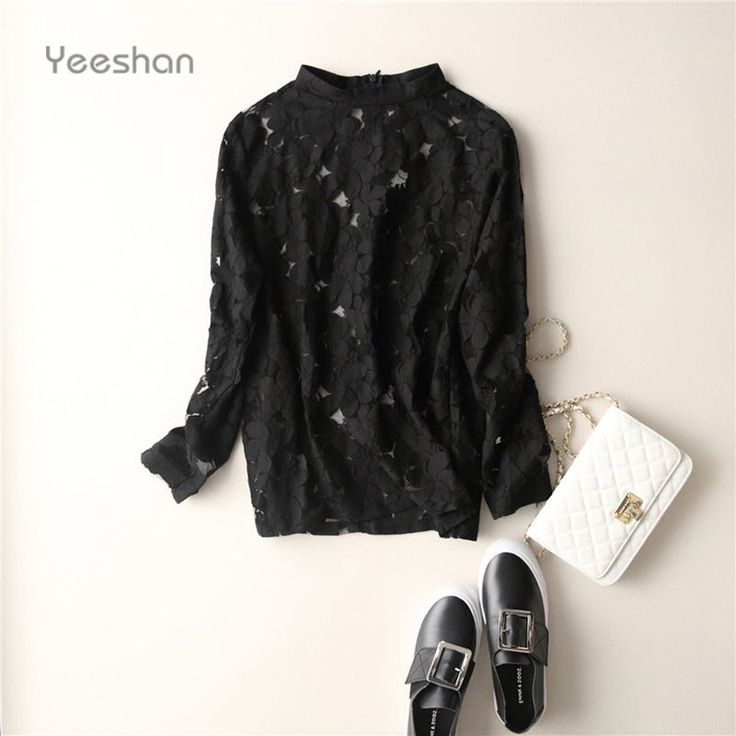 Yeeshan Sexy Black Lace T-shirt Hollow Out T-shirts Women Full Sleeve Beige Tumblr Tops Summer 2017