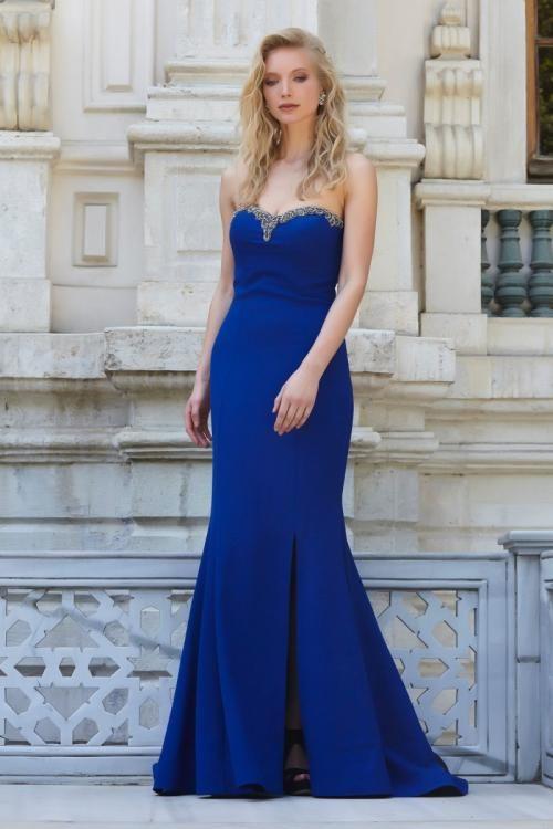 Saks Mavisi Straplez Yırtmaçlı Uzun Gabardin Elbise - Fotoğraf