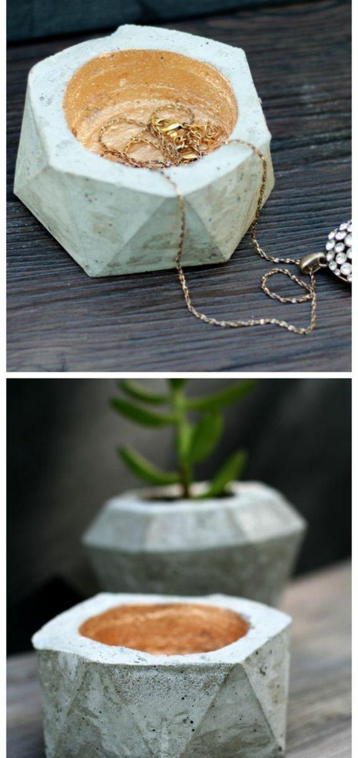 basteln mit beton   schmuckbox, goldene halskette, pflanze