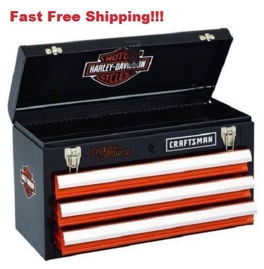 Harley Davidson Toolbox Craftsman Portable Tool Box Storage Chest Mechanic  Steel
