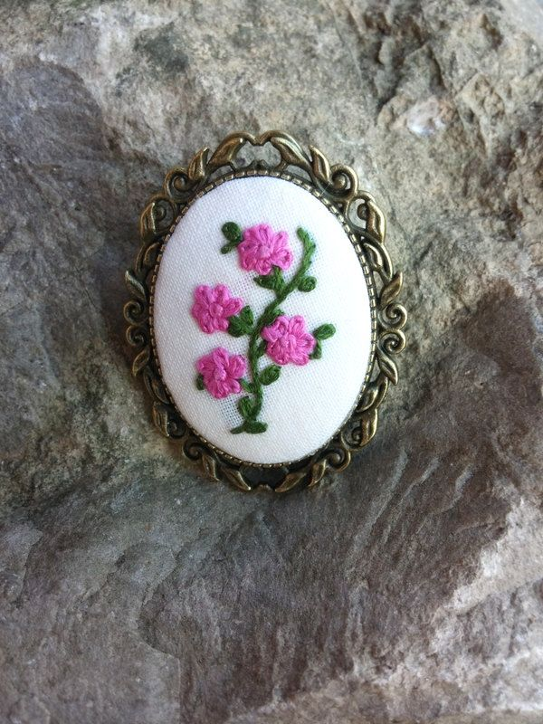 Pink Flower Brooch, Embroidered Brooch, Handmade Jewelry, Romantic Jewelry, Gift for Her by RedWorkStitches on Etsy