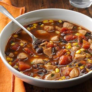 Chicken and Black Bean Soup - Chicken Breasts, corn, black beans, diced tomatoes, jalapeno, cilantro (194 calories)
