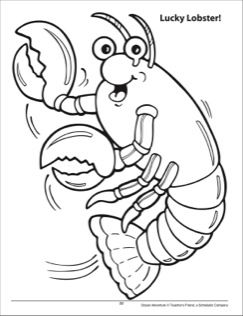 Lucky Lobster! Ocean Adventure Coloring Page