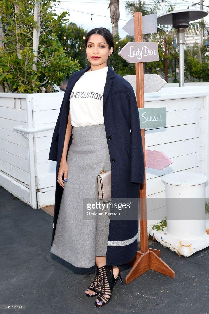 Freida Pinto attends Christian Dior Cruise 2018 Welcome Dinner at Gladstone's Malibu on May 10, 2017 in Malibu, California.