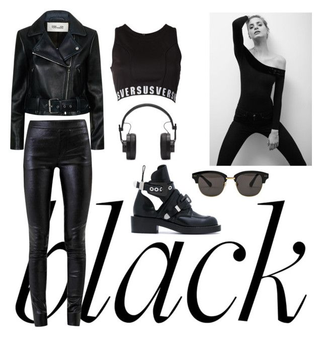 """""""B.L.A.C.K"""" by sheliniap on Polyvore featuring Versus, Diane Von Furstenberg, Helmut Lang, Balenciaga, Gentle Monster, Master & Dynamic and allblackoutfit"""