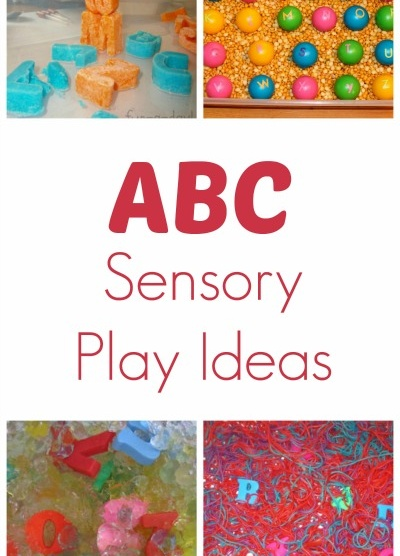 ABC Sensory Play Ideas. Some cute and easy ideas - the paper plate search is an easy game or the chalk and hiding foam letters ($store).