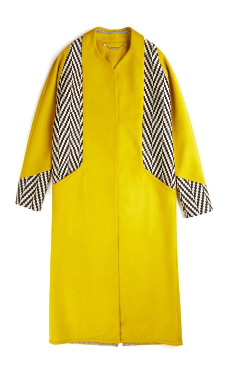 Matthew Williamson Color Block Cocoon Coat In Moss
