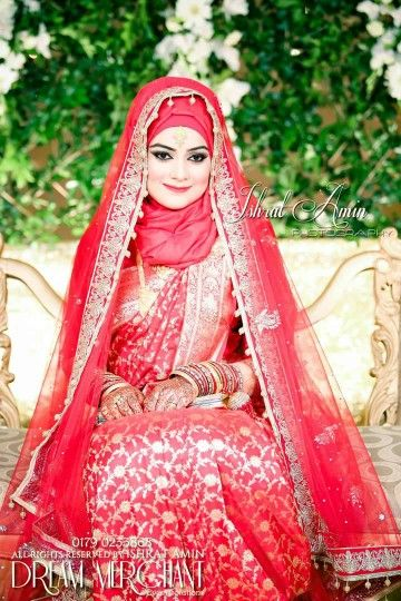 Bangladeshi bride#wedding#red sharee #hijab   Indian ...