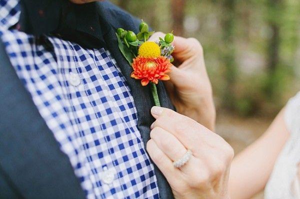 Colorful Fall Boutonniere | Yosemite Wedding by Corinne Krogh Photography