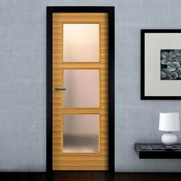 The most stunning prefinished SanRafael Lisa L62VA4 Reconstituted Zebrano High Gloss veneered glazed fire door. #directdoors