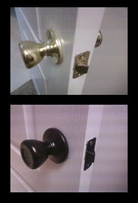 Paint all the shiny brass knobs with Rustoleum Oil Rubbed bronze spray.: Great Idea, Brass Knobs, Bathroom Fixtures, Doors Knobs, Lighting Fixtures, Rustoleum Oils, Rubbed Bronze, Oils Rubbed, Bronze Sprays