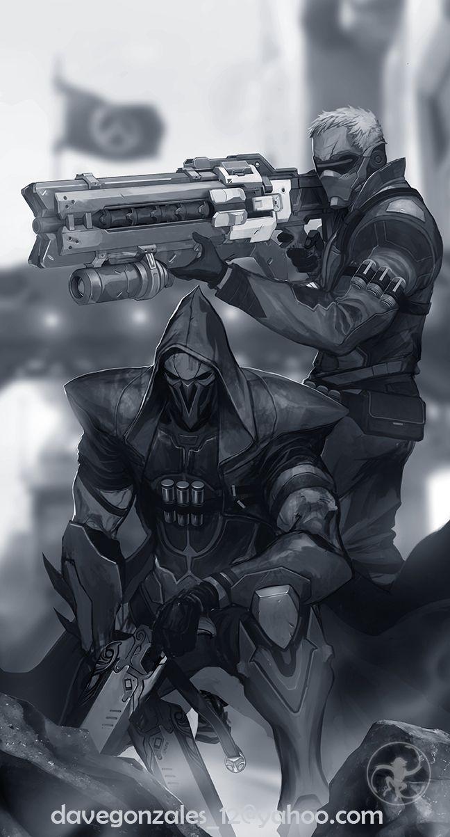 Blizzard,Blizzard Entertainment,фэндомы,Reaper (Overwatch),Overwatch,Soldier 76,Overwatch art
