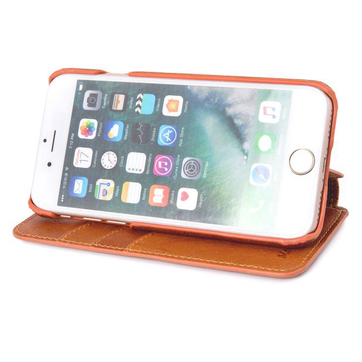 INONES 本革 iPhone 7 ケース 手帳型 (硬度 9H 液晶保護 強化 ガラスフィルム) アイフォン 7 ケース 本革レザー カード入れ スタンド機能 マグネット付き スリム 薄型【ブラウン】
