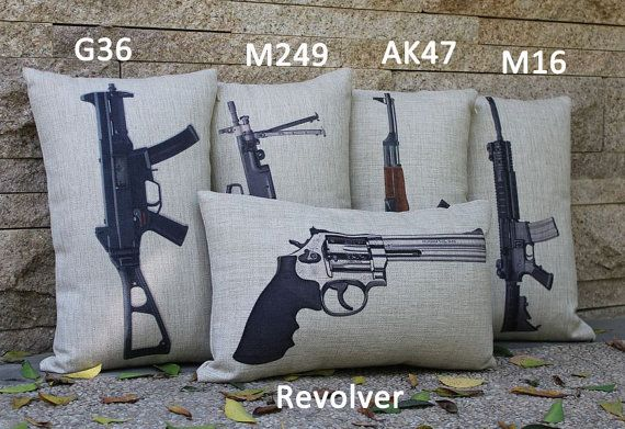 1pc 50x30cm Famous Gun Assortment Cushion Cover by SnowLittleShop, $12.00
