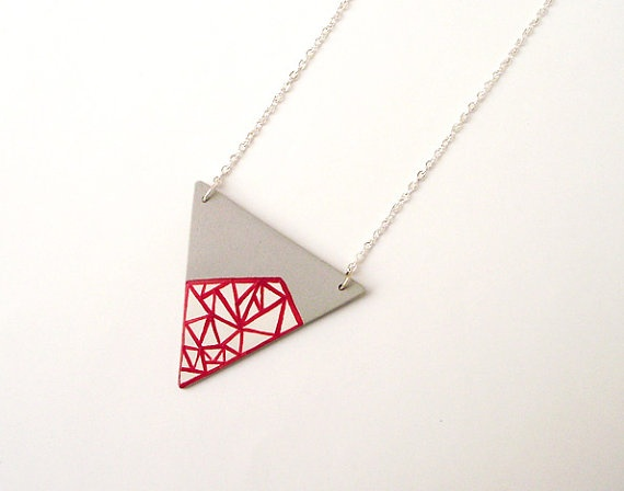 I dig this small triangle geometric porcelain painted necklace $25