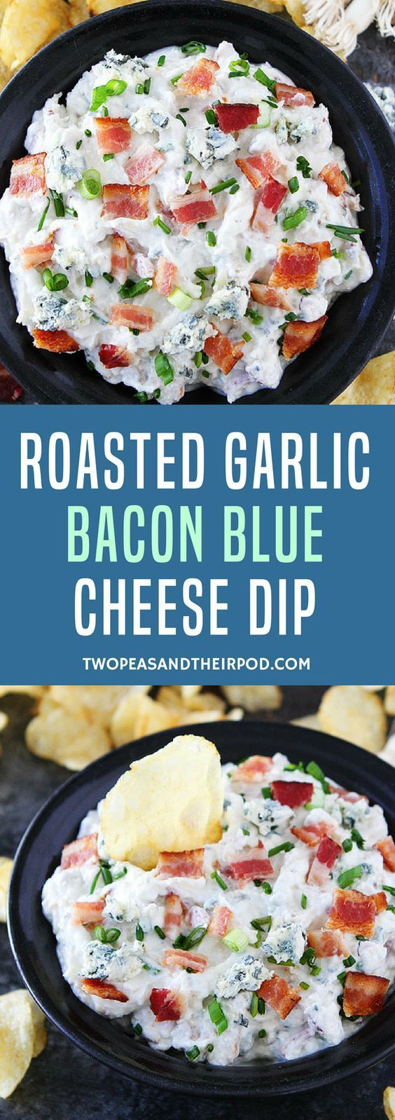 Roasted Garlic Bacon Blue Cheese Dip is the perfect appetizer for game day or parties! Serve with salty chips! #gameday #gamedayfood #dip #appetizer #bacon #cheese
