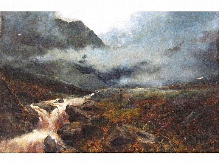 HARRY PHELAN GIBB (1870-1940) Oil on canvas 'Pass of Glen Finlass, Perthshire', signed and entitled and dated 1894 verso. 24x36""