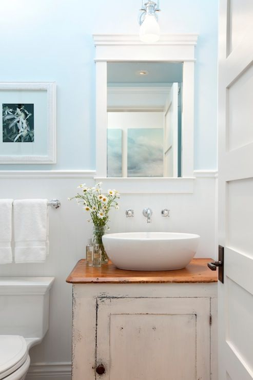 Source: Jodi Foster Cottage Style Bathroom With Repurposed Distressed White  Vanity With Wooden Top