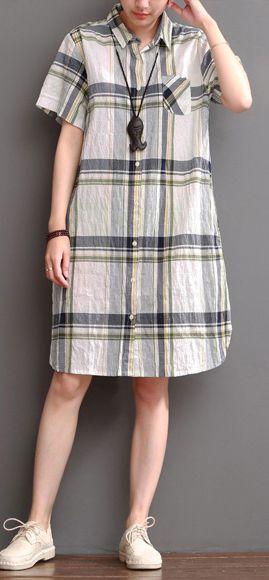 White plaid casual dress plus size summer linen shift dresses