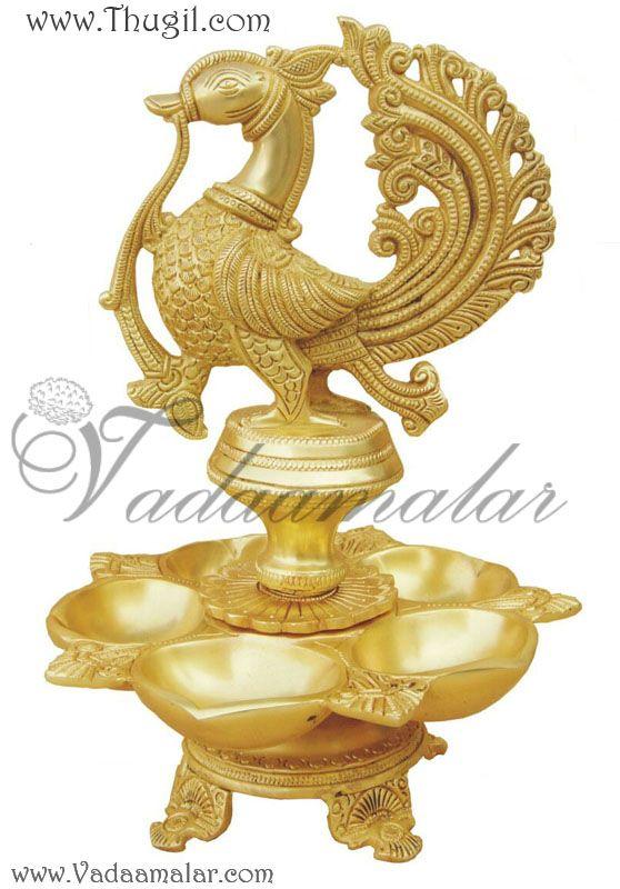 Peacock Hanging Brass Diya. Hand made in brass metal lamp with peacock design
