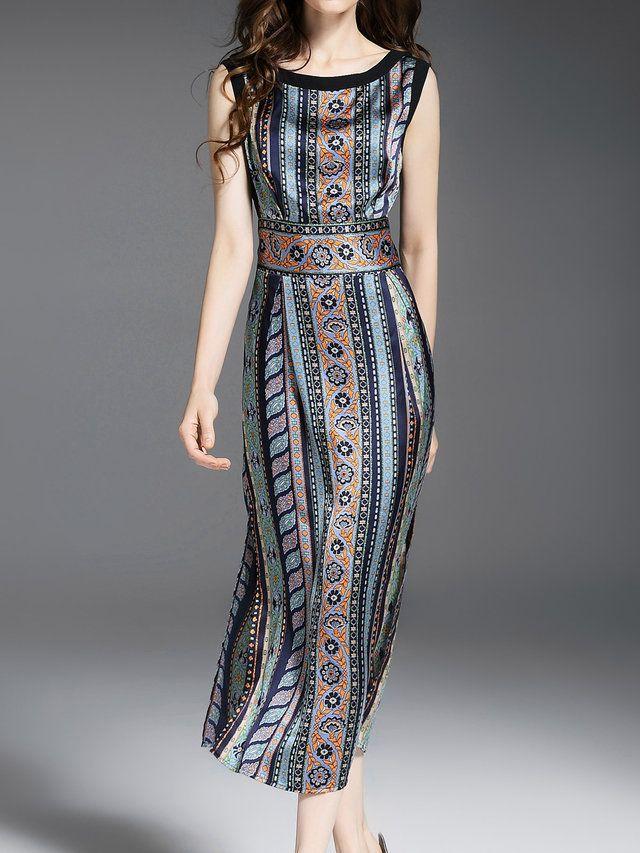 Sleeveless Sheath Casual Printed Midi Dress