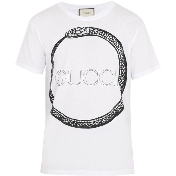 c53cb2bed Gucci Snake and logo-print cotton T-shirt ($450) ❤ liked on Polyvore  featuring men's fashion, men's clothing, men's shirts, men's t-shirts, mens  crew neck ...