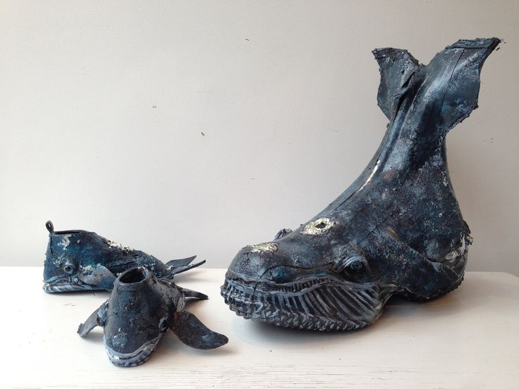 Incredible sculptures by Kim Danio - made from shoes!  www.argylefineart.blogspot.com