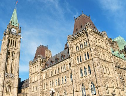 The Parliament Hill's West Block's  previously green roofs have been  replaced with the new copper roofs.