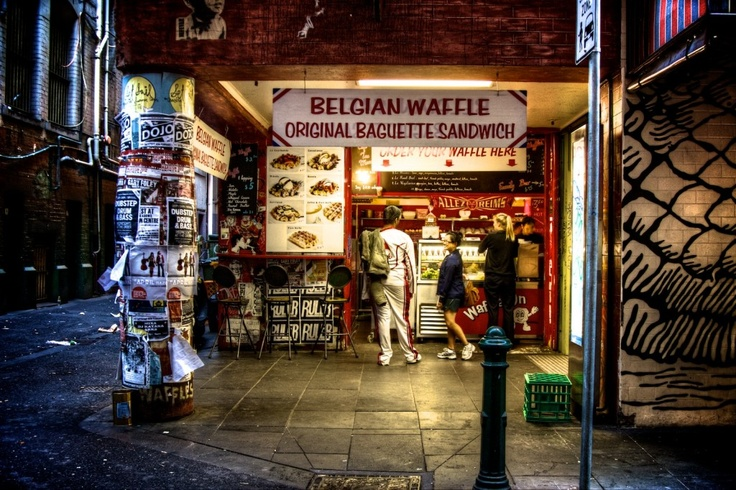 The famous Belgian Waffle House on Degraves Street