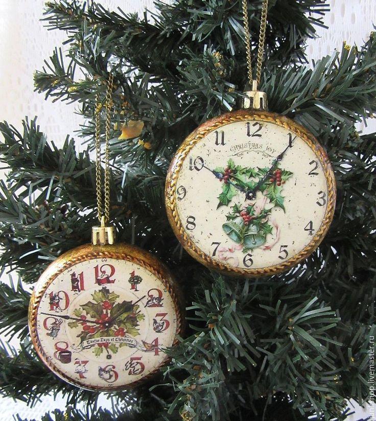 """Купить Набор елочных игрушек-подвесок """"Старинные часы"""" - елочные игрушки, елочные украшения"""