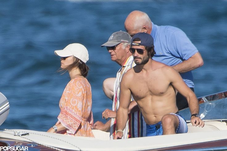 popsugar:  Swedish Royal Family in St. Tropez, August 2015-Princess Sofia, King Carl Gustaf, Prince Carl Philip