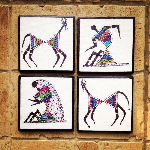 Colourful handmade, handpainted Tea Coasters With Warli Art in Madhubani style (Set of 4)