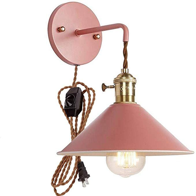 Plug In Dimmable Wall Sconce Lamps Lighting Fixture Within Line Cord Dimmer Switch Pink Macaron Wall Lamp E26 Ediso Copper Lamps Adjustable Wall Lamp Wall Lamp