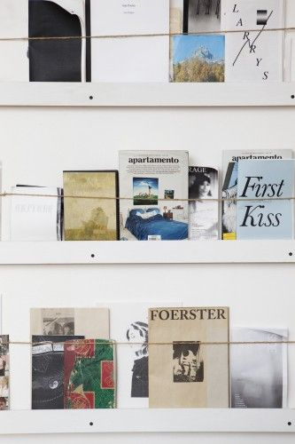 """This is my zine wall, which holds a collection of magazines purchased at Printed Matter or gifted to me by my artist friends."""