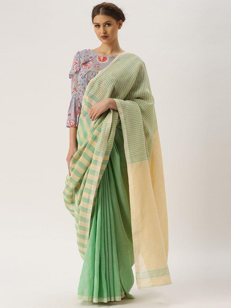 gocoop Beige & Green Cotton Traditional Handloom Saree