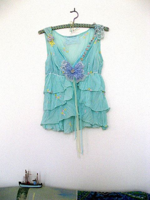 Boho, Lacey Aqua with Blue Flower Sleeveless Top