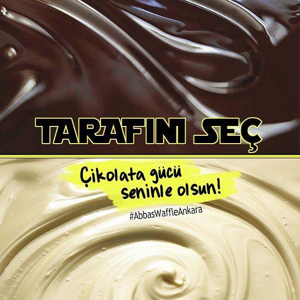 Bitter mi, beyaz mı? Tarafını seç, çikolata gücü seninle olsun! #AbbasWaffleAnkara #StarWarsGünü #GüçSeninleOlsun