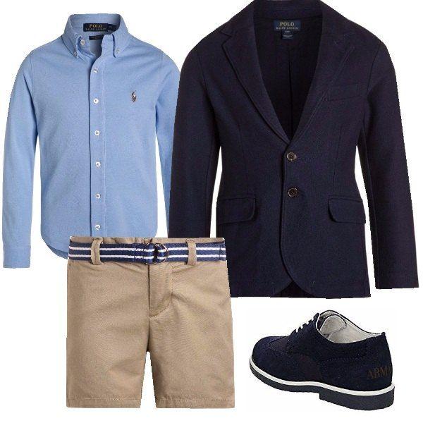 Cerimonia in pantaloncino corto per bimbi che adorano la comodità senza rinunciare all'eleganza, pratico e comodo. Ideale per questo periodo, la camicia in variante manica corta per il periodo più caldo.