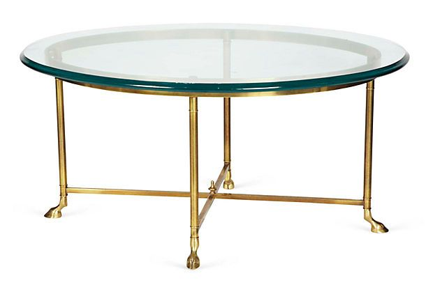 One Kings Lane - This Week's Vintage Mix - Oval Brass Coffee Table
