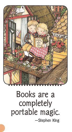 """""""Books Are A Completely Portable Magic"""" Stephen King - Rooftop Porch Magnet Mary Engelbreit Art"""