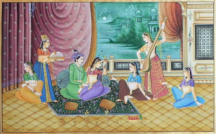 King+with+his+Harem+(Miniature+Painting+on+Silk+Cloth+-+Unframed)
