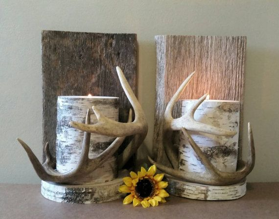 Deer Antler Decor, Wall Antlers Sconce, Real Antlers, Birch Candle Wall Sconce, Cabin Decor