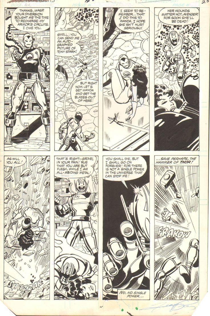 AVENGERS #202 PAGE ( 1980, GEORGE PEREZ ) Avengers vs. Ultron! Comic Art
