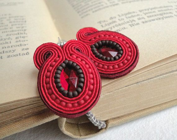 Soutache earrings beaded earrings with red and maroon by soStudio, $30.00