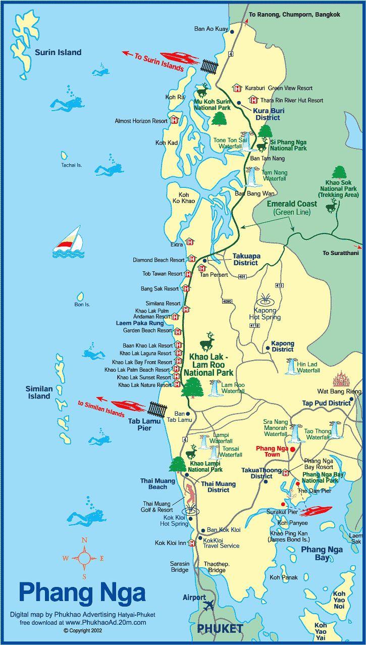 Map of Phang nga Thailand-Phang Nga map and hotels Phamg Nga Khao Lak