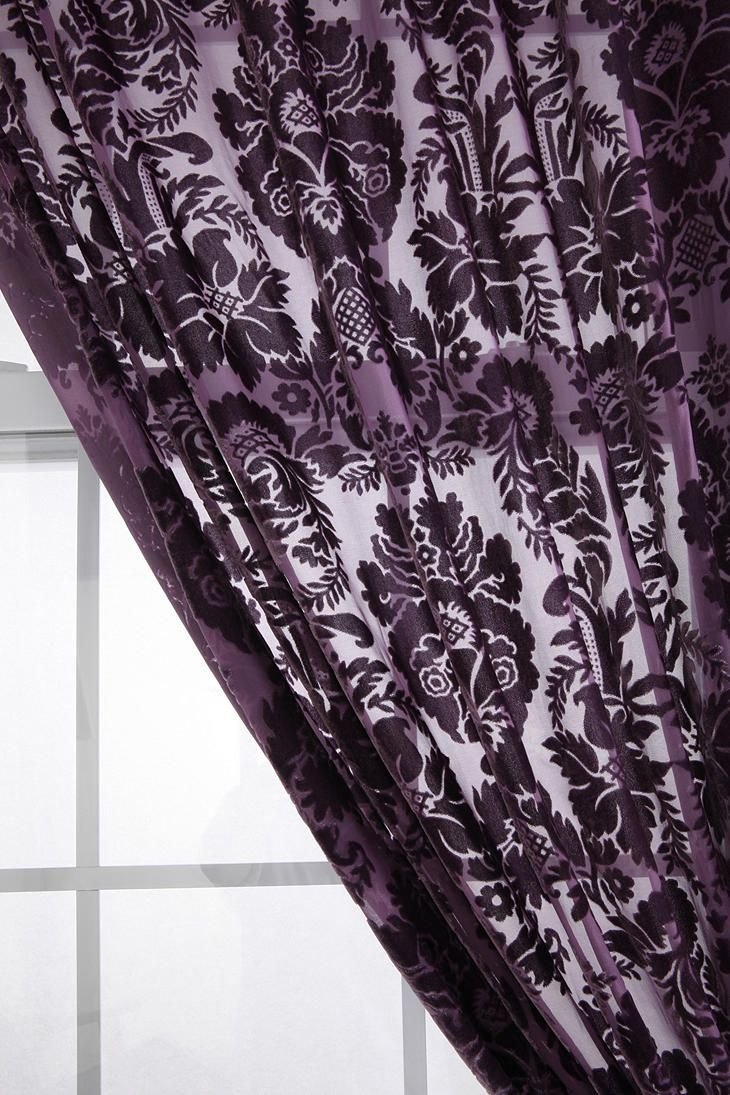 Sheer plum curtains - Damask Velvet Burnout Curtain