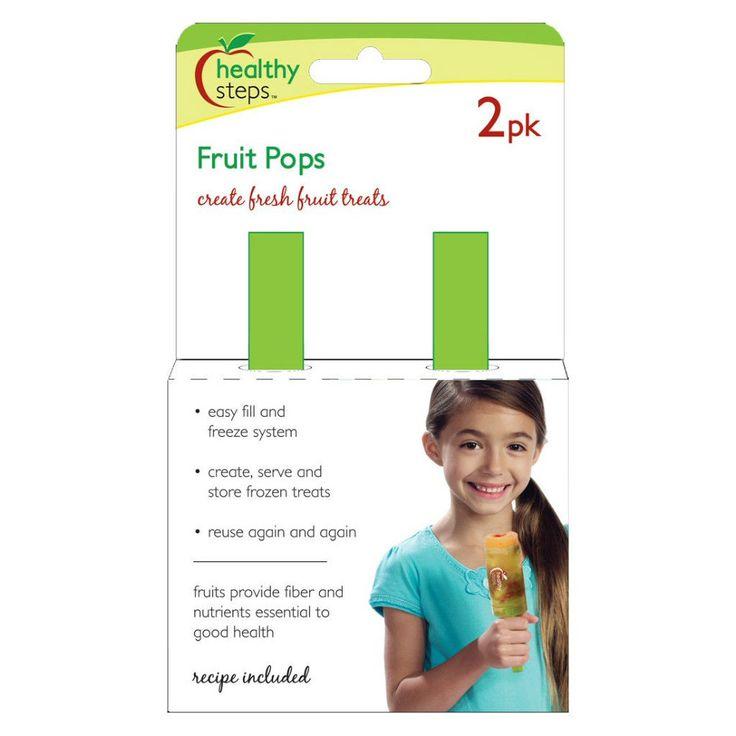 Jokari Healthy Steps Fruit Pops Maker 2Pk - Popsicle Ice Pop Push-Up Mold