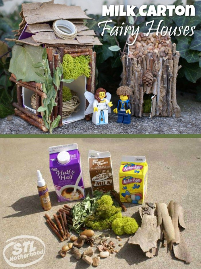 Make a cool milk carton fairy houses with your kids!