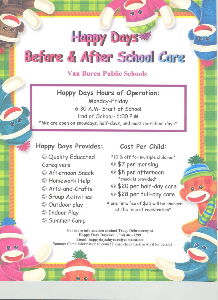 Please see the Happy Days Day Care flyer ...